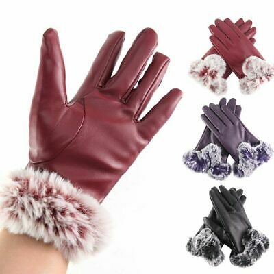 Womens Warm Leather Gloves Motorcycle Three Finger Touch Screen Driving Winter