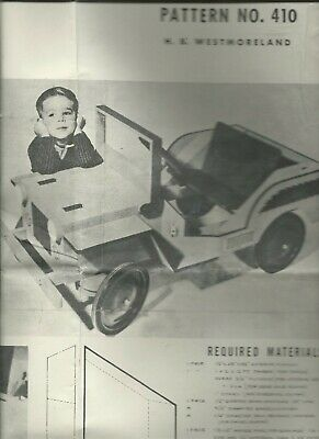 VINTAGE WOODEN JEEP PATTERN FULL INSTRUCTIONS #410 child sized car