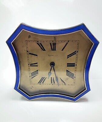 Tiffany & Co. Art Deco Sterling Silver Enamel Desk Clock