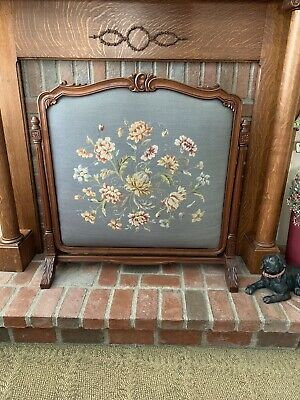 Antique Victorian Solid Carved Ornate Walnut Frame  Fireplace Screen