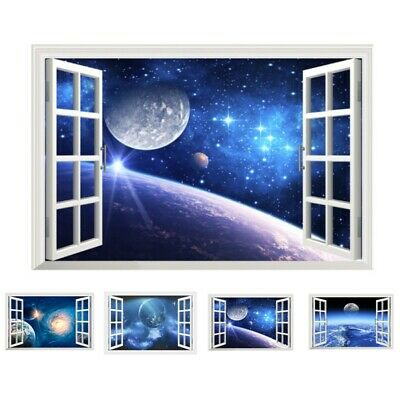 Children S Bedroom Boy Décor Decals Stickers Vinyl Art Earth Space Planet Galaxy Sun Universe Cracked 3d Wall Sticker Stars Mural Wsd71 Home Garden Livingstonejewelry Com