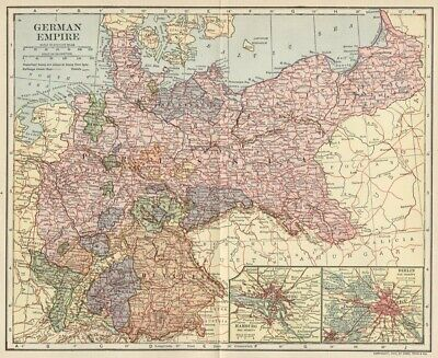 German Empire Map (Germany); Authentic 1907 (Dated) States, Cities, Topo, RRs
