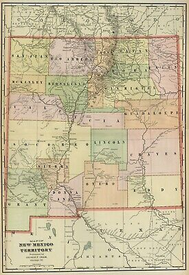 New Mexico Territory Map: Authentic 1899; Towns, Railroads, Tribes, Topog