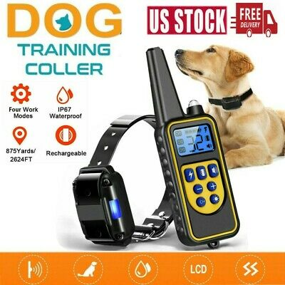 875 Yards Dog Shock Collar Remote Waterproof Electric For Pet Training Collars