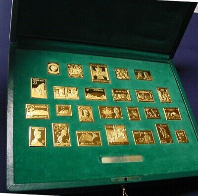 25 Famous Australian stamps in gold plated sterling silver. Original cost $2500