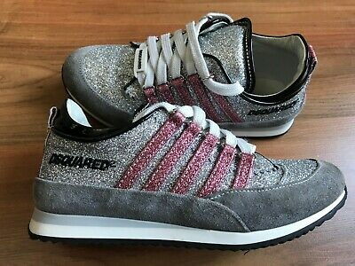 Girls SILVER Pink GLITTER DSQUARED2 Sneakers TRAINERS (31/uk12-13) *LOVELY*