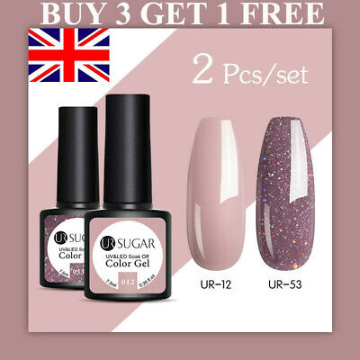 UR SUGAR 2 Bottles Combo Set UV Gel Nail Polish Soak Off Gel Varnish Glitter