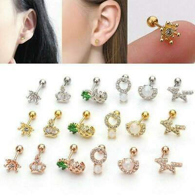 1PC New Cartilage Tragus Daith Conch Hoop Earring Nose Ring CZ Ear Piercing UK.