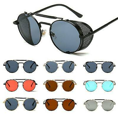 Metal Frame Side Shield Hipster men Round Sunglasses Vintage Gothic Hippie Circle Retro Steampunk sunglasses women oversized