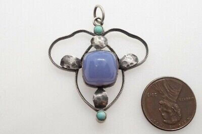 ANTIQUE ENGLISH ARTS & CRAFTS SILVER BLUE CHALCEDONY & TURQUOISE PENDANT c1900