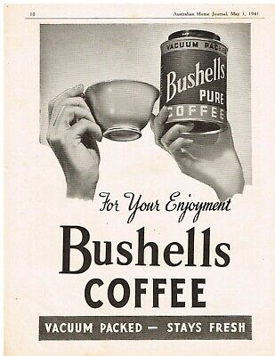 Original Vintage Ad  Bushells Pure Coffee For Your Enjoyment  May 1 1941
