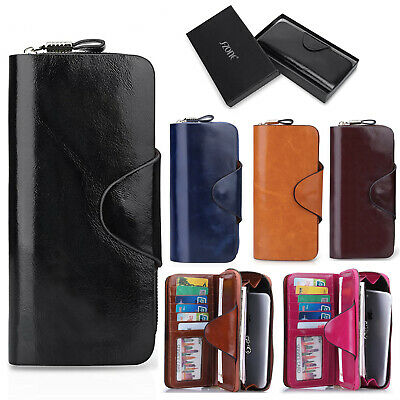 RFID Genuine Leather Wallet Large Clutch Capacity Organizer Card Cash Coin Purse
