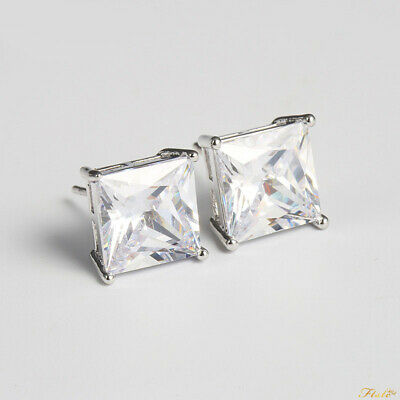 8mm Clear CZ Square Stud Earrings NEW
