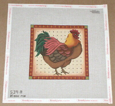 "Melissa Shirley Chicken ""Brown & Red Rooster"" Handpainted Needlepoint Canvas"