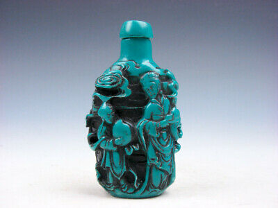 Turquoise Glazed Ancient Goddess Kid Peach Longevity Carved Snuff Bottle #111819