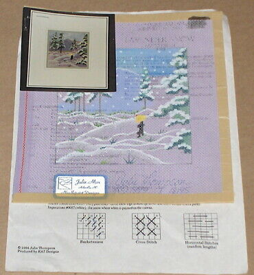 """Julie Mar """"Lavender Snowfall"""" Handpainted Needlepoint Canvas w/ Stitch Guide"""