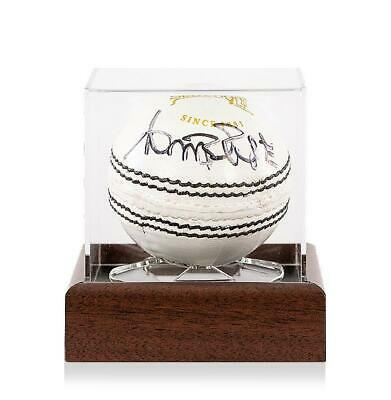 Curtly Ambrose Signed White Slazenger Cricket Ball In Acrylic Case Autograph