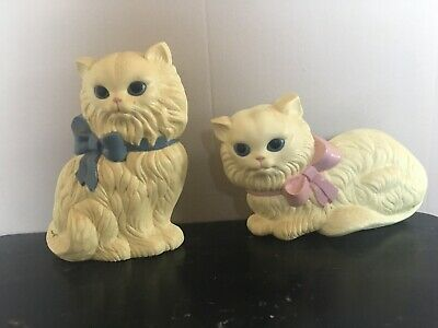 Vintage 1970s Plastic Cat Wall Hangings-pair White
