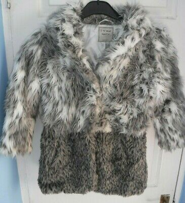 Next Grey And White Girls Fur Look Coat Ages 7-8 Years Height 128 Cms
