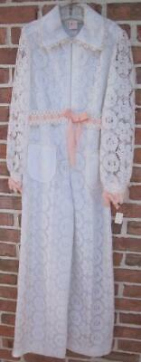 Vintage Dorissa of Miami Young Girls Sz 12 Pantsuit White Lace Long Sleeves Tags