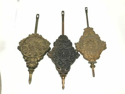 "3 Antique Ornate Clock Pendulum Weights, 6.25"", 6.5"", 7"" Sizes 