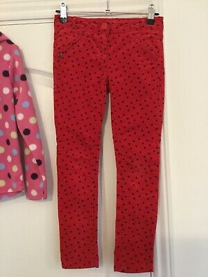 Next Girls Red With Black Sports Cord Trousers Age 8 Years