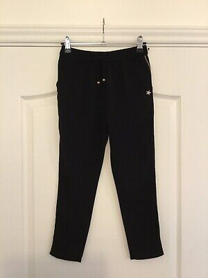Next Girls Black Floaty Trousers With Star Detail Age 8 Years