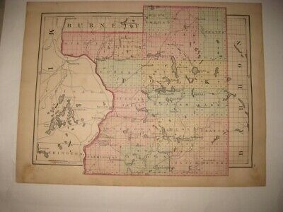 Vintage Antique 1876 Polk County Wisconsin Handcolored Map Railroad Superb Rare