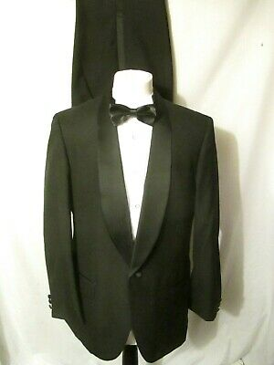 "Moss Bros Men's Black Wool Blend Dinner Suit Chest 42"" Waist :34"" Leg:30.5"""