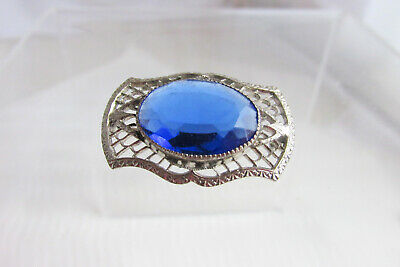 Art Deco Sterling Filigree Pin 18MM Blue Glass Faceted Stone Antique Vintage