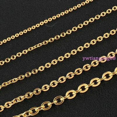 "16""-40"" 10pcs/Lot 2/2.4/3.2mm Gold Stainless Steel Cross Link Chain Necklace"