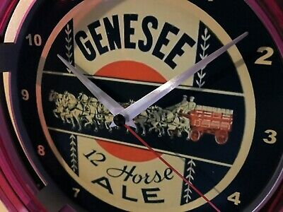 Genesee 12 Horse Ale Beer Bar Advertising Man Cave Neon Wall Clock Sign