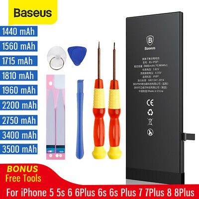 Baseus iPhone Battery Replacement for Apple iPhone 8 7 6 6S Plus 5 5S with Tool