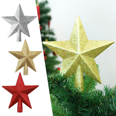 10Pcs Christmas Tree Topper Glitter Treetop Star For Home Xmas Shiny Decoration