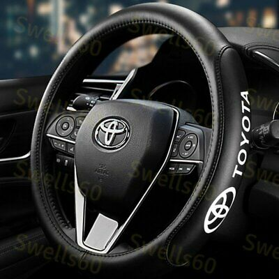 """New 15"""" Car Steering Wheel Cover Genuine Leather For Toyota Black X1"""