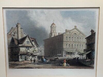 W.H. Bartlett Framed Hand Colored Engraved Print Faneuil Hall Boston 1839