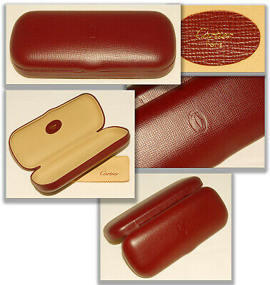 AUTHENTIC Vintage CARTIER - RED LEATHER EYEGLASSES SUNGLASSES Hard Case + Cloth