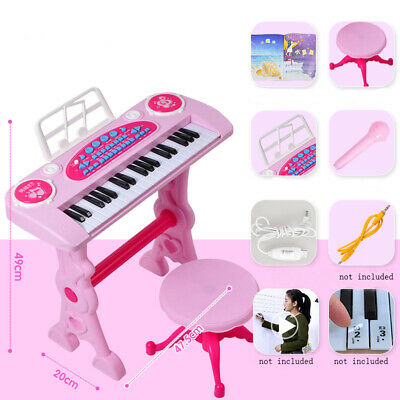 Girls Electronic Keyboard 37 Key Piano Musical Toy w/ Microphone & Stool Pink