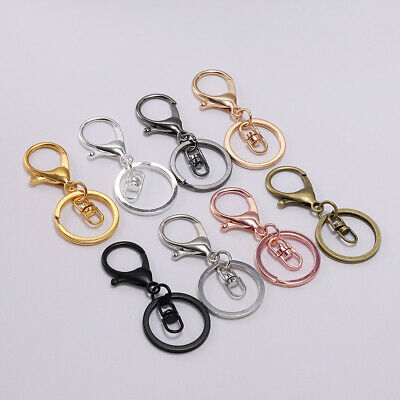 5pcs Lobster Clasp Key Snap Hook Split Ring Keychain For Jewelry Making Findings