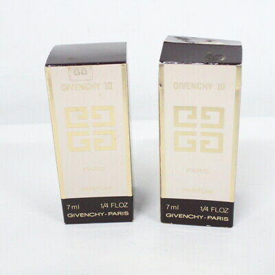 2 Givenchy III Paris Parfum Bottles New in Box Opened #323