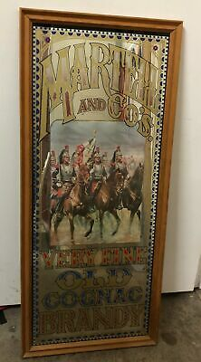 Martell & Co's Old Cognac Brandy Mirrored Sign Vintage 91x40cm PICK UP ONLY #551