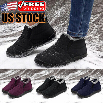 Men's Winter Snow Boots Waterproof Warm Fur Lined Outdoor Ski Ankle Boots Shoes