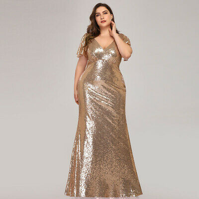 Ever-Pretty UK Plus Size Sequins Mother Of Bride Dress Bodycon Evening Prom Gown