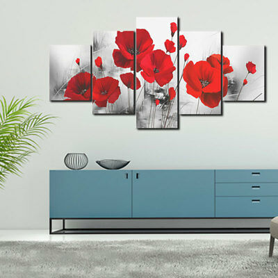 5PCS/Set Red Rose Poppy Flower Canvas Print Painting Picture Art Home Wall Decor