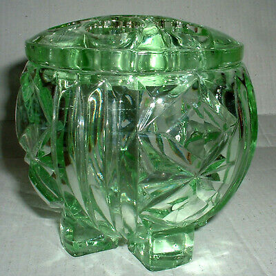"""Vintage Art Deco Footed Green Posy Bowl With Original Fitted Frog 4"""""""