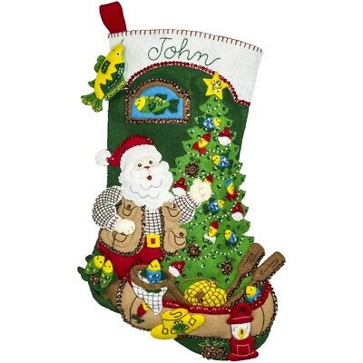 "Bucilla Felt Stocking Applique Kit 18"" Long-lodge Santa"