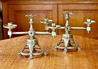 Pair twin armed gothic revival / arts & crafts solid brass candelabra +cabochons