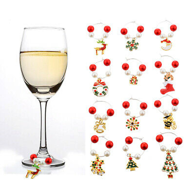 12pcs/Set Christmas Wine Glass Charms Marker Rings Xmas Table Decorations 2020