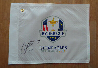 Paul McGINLEY Signed 2014 Gleneagles Ryder Cup Golf Flag Autograph AFTAL COA