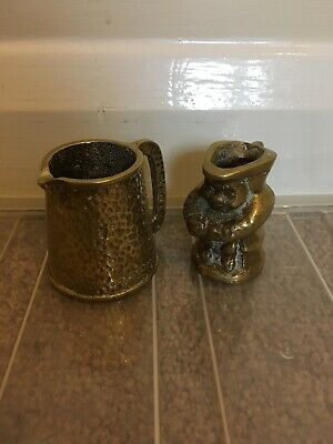 PAIR OF SMALL SOLID BRASS Toby Jug TANKARDS JUGS HEAVY VINTAGE Antique